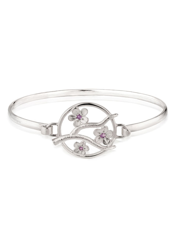 Silver Cherry Blossom Bangle with Garnets - CB12G