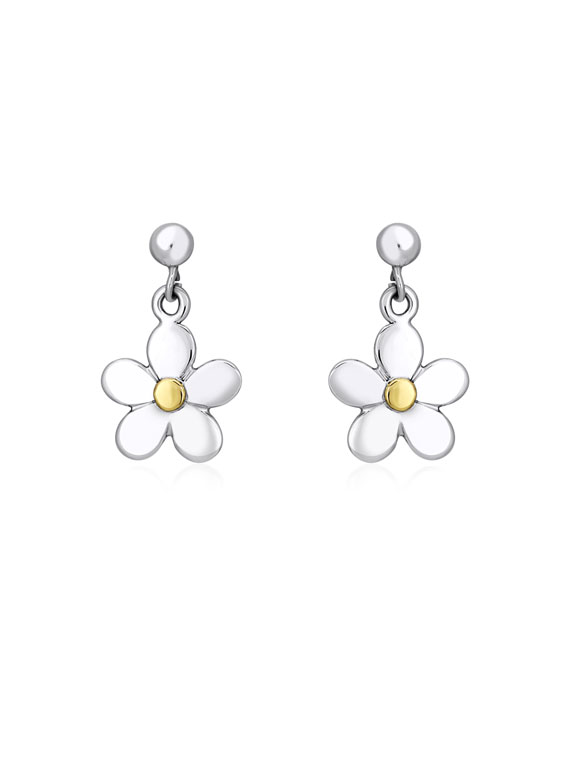 Fiona Kerr Jewellery | Daisy Chain Silver and Yellow Gold Small Drop Earrings - DC06s