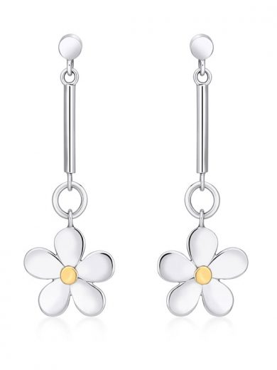 Fiona Kerr Jewellery | Daisy Chain Silver and Gold Long Drop Earrings - DC09