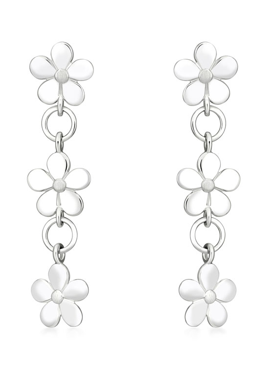 Fiona Kerr Jewellery | Daisy Chain Silver Long Drop Earrings - DC34