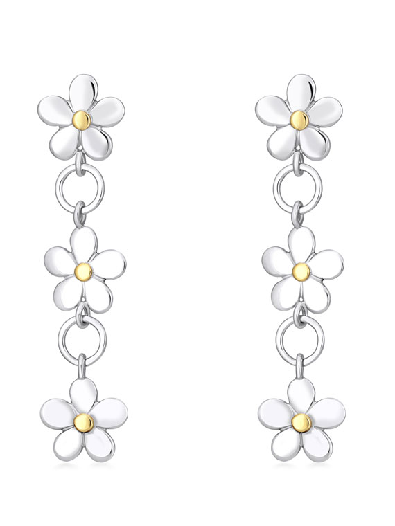 Fiona Kerr Jewellery | Daisy Chain Silver and Yellow Gold Earrings - DC36