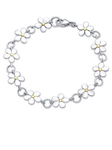 Fiona Kerr Jewellery | Daisy Chain Silver and Yellow Gold Bracelet - DC30