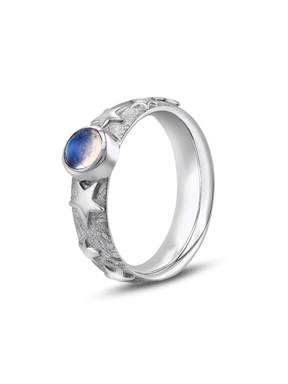 Fiona Kerr Jewellery | Silver Stars and Moonstone Ring – SSMR