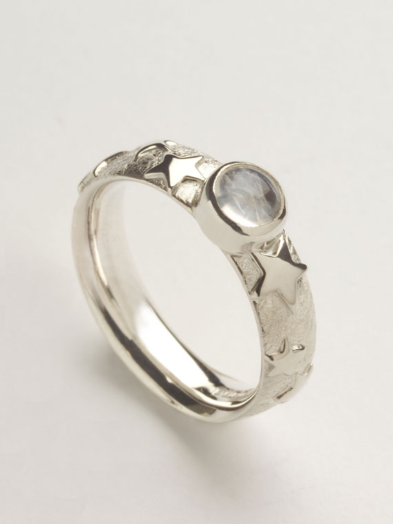 Fiona Kerr Jewellery | Silver Stars and Moonstone Ring - SSMR